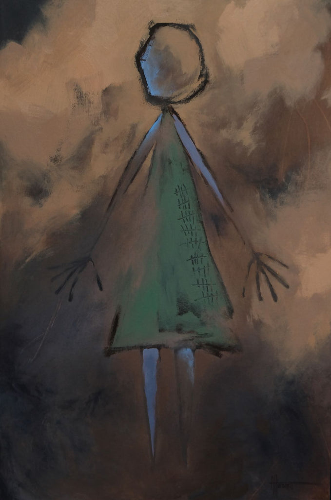 Partial abstract painting by Nova Scotian artist Anna Horsnell. Painting is part of her earthling series featuring a simple figure in a green dress, with forty-five tick marks on it. The background is a black base with various browns on top, partially covering the figure as well.