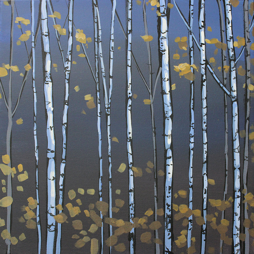square painting of aspen saplings with sparse golden leaves against a blue grey background by artist Peter John Reid