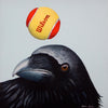 A square painting, the bottom half features the head of a large quizzical blue-black raven. A red and yellow Wilson tennis ball levitates directly above the ravens head, against a smooth pale blue background.