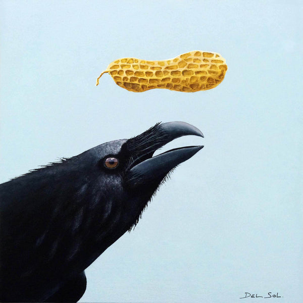 Square mixed-media painting, the head of a large blue black crow emerges from the left bottom corner. Background is smooth pale blue and a single peanut in a dimpled yellow shell levitates above the crow's half open curved beak. By artist Christina Del Sol.