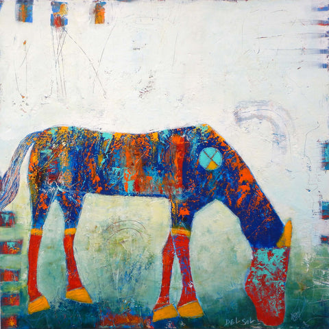 mixed media painting of an simplistic abstracted horse with it's head lowered to graze. The horse has orange hooves, knees and ears, and red legs and head, with a mainly deep blue body. It sits against a light background with gets darker towards the bottom.