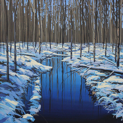 Image shows an acrylic painting by artist Peter John Reid of a winter scene featuring a grove of thin saplings in snow, reflected in a still blue stream.