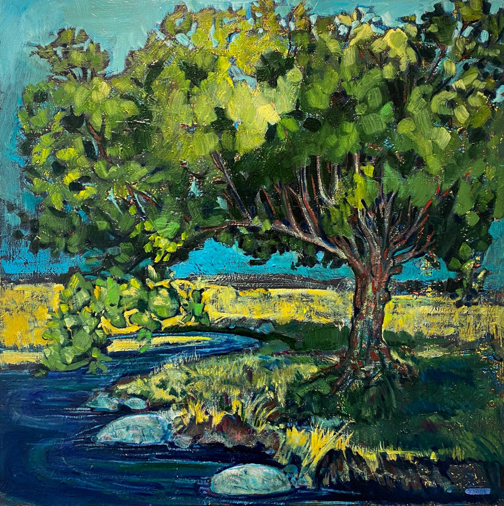 Impressionistic oil painting of a large tree on the bank of a curving river. There are yellow fields in the background and the sky is blue. By Nova Scotia based artist Sarah Irwin.