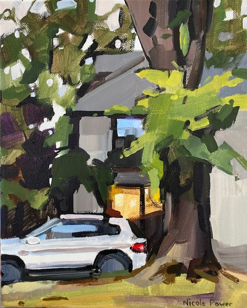 Small painterly study of the Rusty Hinges storefront in the Halifax Hydrostone Market strip, partly obscured by a white SUV and the trunk and foliage of a large tree. By Nicole Powers.