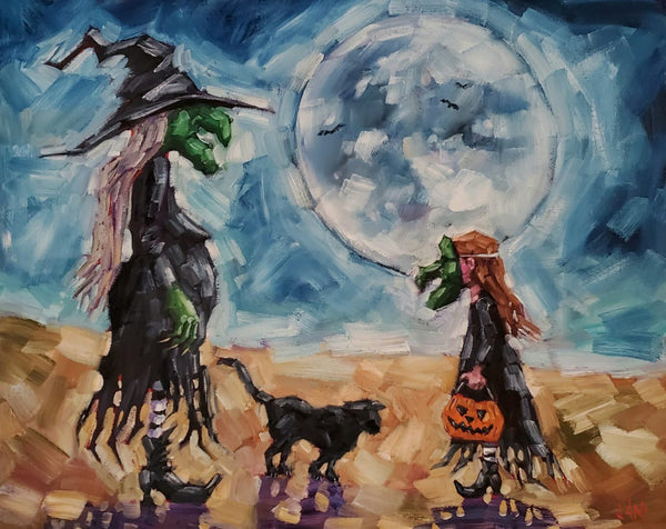 halloween painting of a witch and a black cat and a young trick or treater dressed as a witch in front of a full moon.