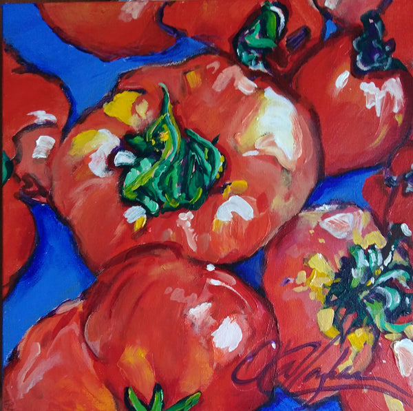 Tomatoes on a Blue Cloth