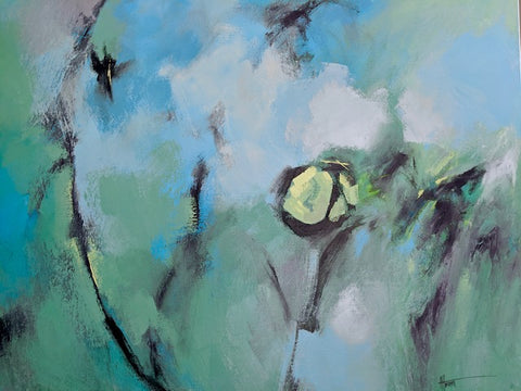 Maybe Tomorrow abstract painting by Nova Scotian artist Anna Horsnell. Painting is various blue and teal green shades with a yellow spot and smeared black lines.