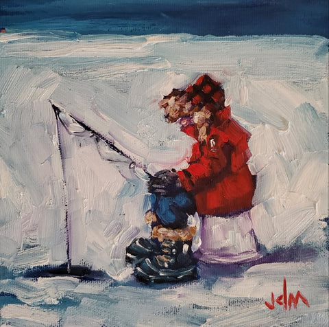 child in red parka, plaid cap and snow boots ice fishing on a snowy lake by Jamie McCallum