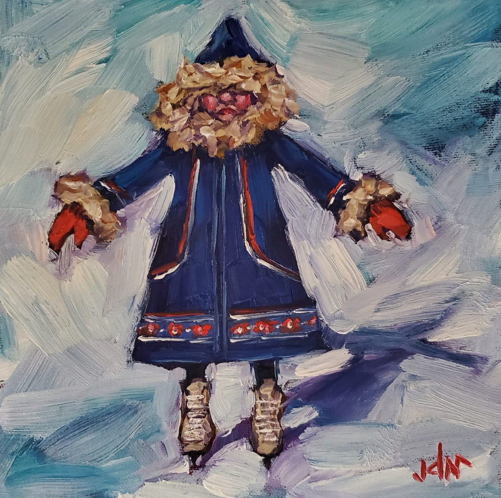 woman in blue parka and red mittens on figure skates by Jamie McCallum