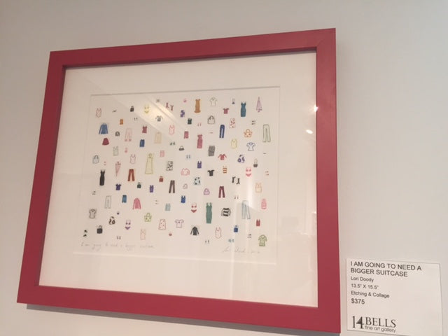 collage of tiny clothes in a red frame