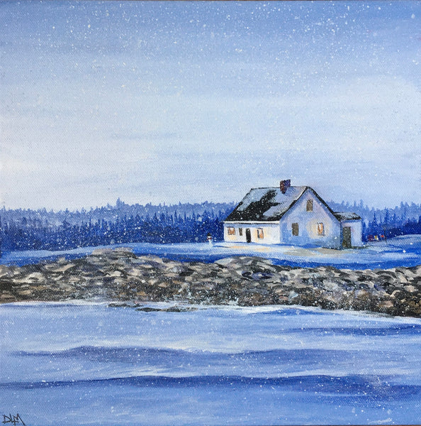 little white house on the snowy shore Donna L MacDonald