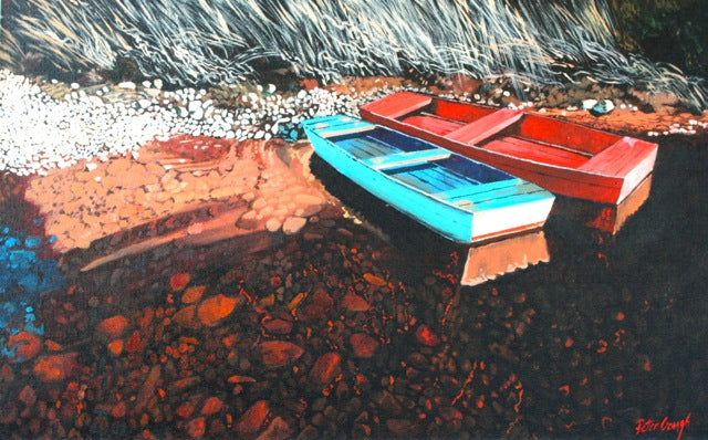 Acrylic painting by Liverpool based Nova Scotian artist Peter Gough. Painting shows two small row boats, one bright blue, one red pulled up along a rocky shoreline. The water is transparent, and the rocky bottom shows through red tinged.