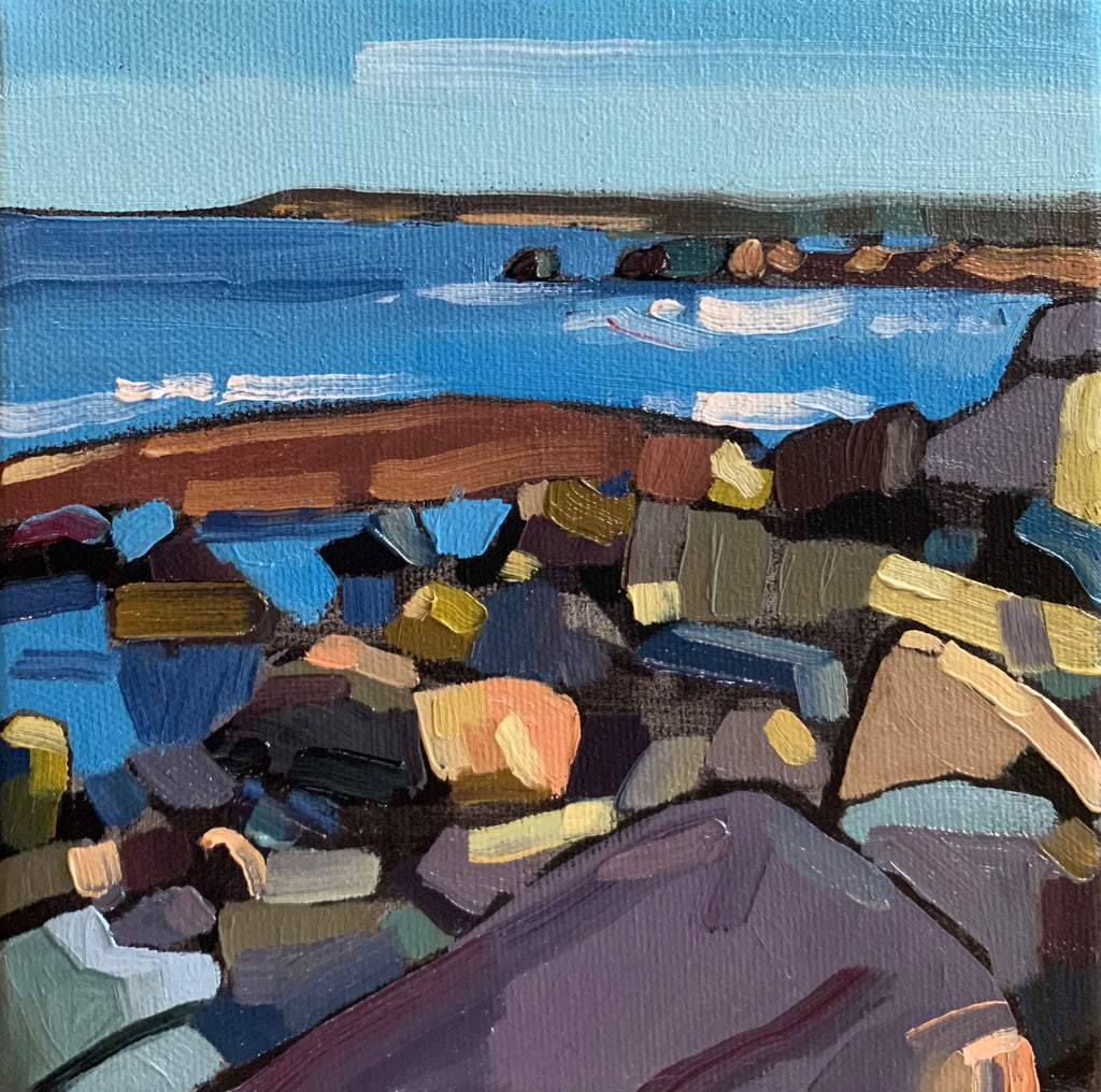 abstract seashore with large boulders in the foreground by artist Nicole Power