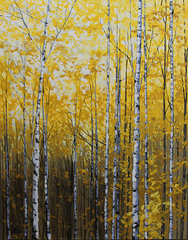 Acrylic painting of a leafy yellow grove of birch trees, by Peter John Reid