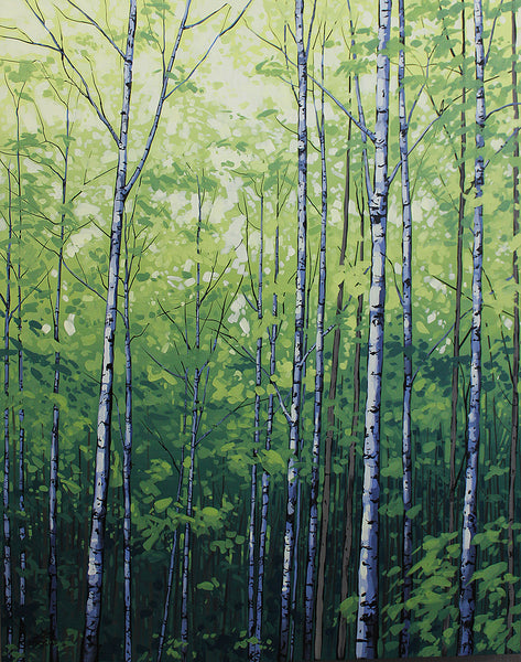 Acrylic painting of a leafy green grove of birch trees by Peter John Reid