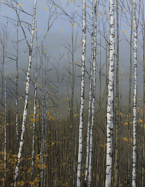 Acrylic painting by Peter John Reid. Image features sparsely yellow leaved birch trees on a grey background