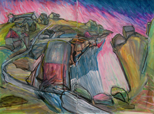 large loose gestural drawing of a rocky landscape in bright pink and blues. drawing is on two papers displayed next to eachother.