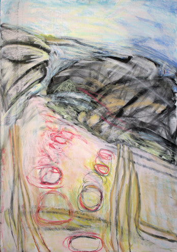 figurative abstracted landscape, large loose pastel drawing by Jo Beale