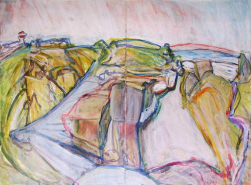 loose, gestural figurative abstracted drawing based on the landscape at Peggy's Cove, Nova Scotia by artist Jo Beale