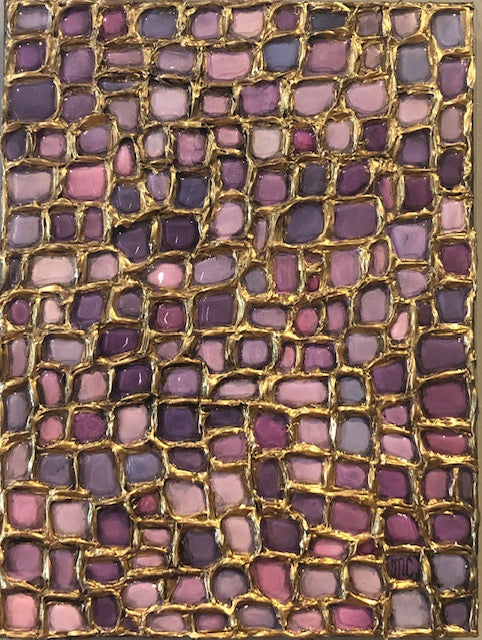 abstract painting featuring a gridded network of raised gold lines filled with various lilac shades of resin by nova scotia artist Melanie Unsworth-Currie