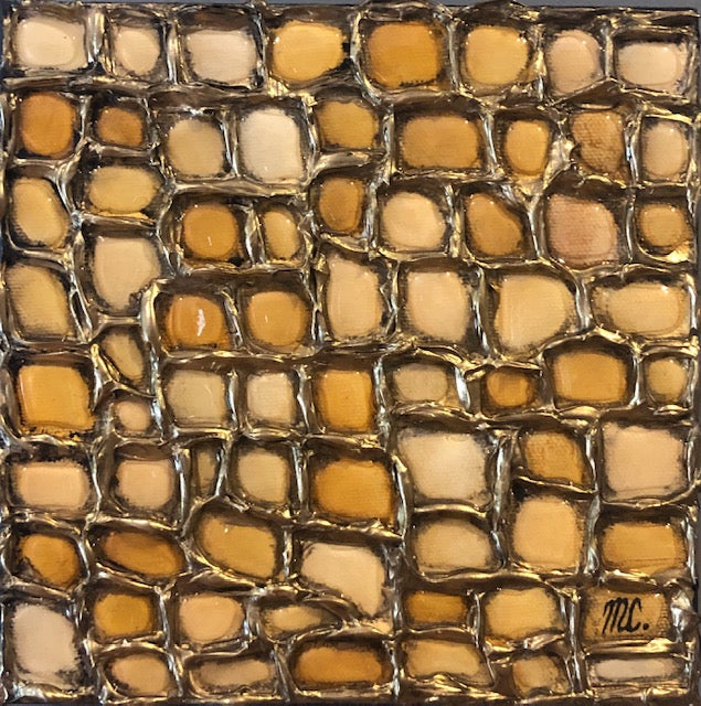 abstract painting featuring a gridded network of raised gold lines filled with various yellow shades of resin by nova scotia artist Melanie Unsworth-Currie