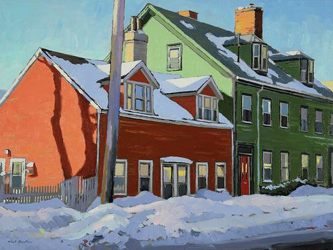 Oil painting of a winter streetscape featuring small red and larger green house on Birmingham Street in Halifax. By Nova Scotia Artist Mark Grantham.