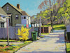 Oil painting of an alley in the Hydrostone Market. in the background the 14 bells of the Halifax Explosion Memorial are visible. By Nova Scotia Artist Mark Grantham
