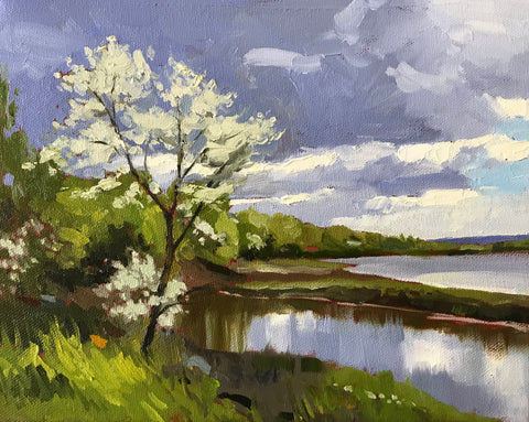 oil painting of a still river and green shoreline in Gaspereau Nova Scotia by artist Mark Grantham. In the foreground a slender sapling with white blossoms, the sky is blue gray and cloudy.