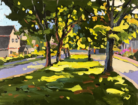 Acrylic painting of the tree-lined median running down Hennessy Place in the Halifax Hydrostone, by Nova Scotia artist Mark Grantham.