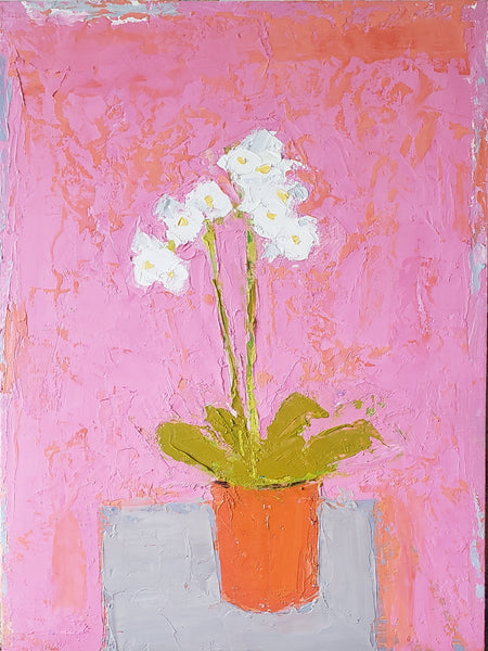 abstract-oil-painting-of-white-orchids-on-pink-background-by-canadian-artist-Ross-Reynolds