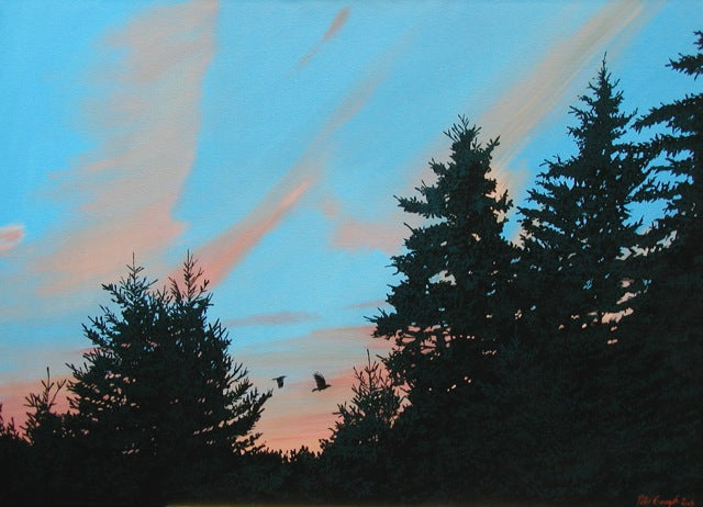 painting of a pink and blue sunset behind silhouetted coniferous trees. Two birds fly between a gap in the trees by Nova Scotia artist Peter Gough