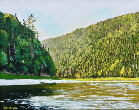 Acylic painting of the Restigouche River in New Brunswick bending around two large densely forested hills. A canoe sits on the sandy shore line by artist Peter Gough.