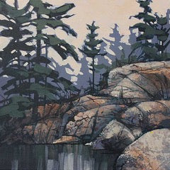Acrylic painting of coniferous trees and Canadian shield against a pink sky and a still grey lake  by Peter John Reid