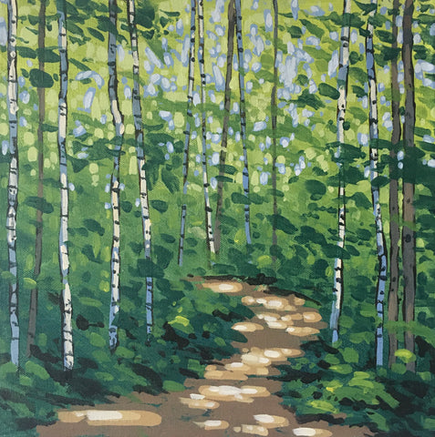 a dappled path through a birch forest in summer by Peter John Reid