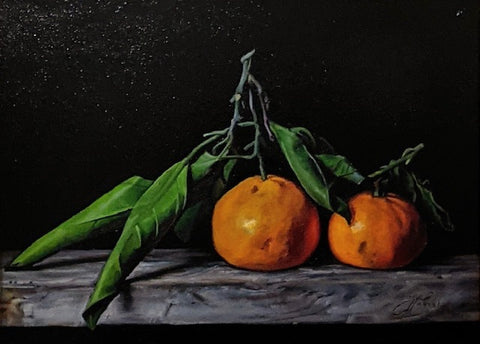 satsuma mandarin oranges with leaves sitting on distressed wood painted in oil on black background by Tylor McNeil
