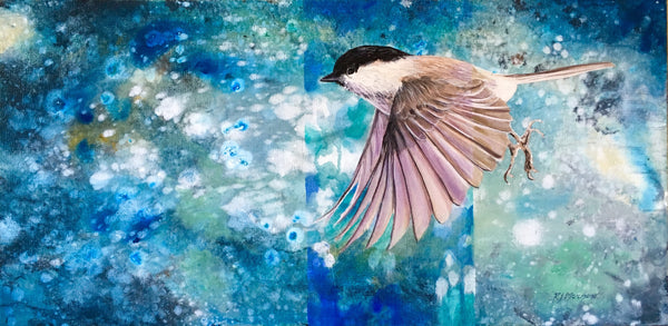 Chickadee on Blue