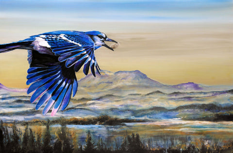 blue jay in flight with a peanut in its beak by artist RJ Marchand