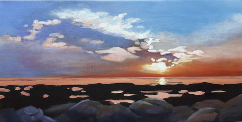 acrylic-painting-of-a-nova-scotia-sunset-by-canadian-artist-rhonda-Marineau