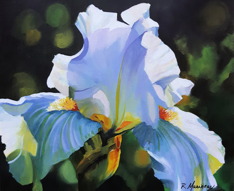 acrylic painting close up of a white iris against a dark green ground