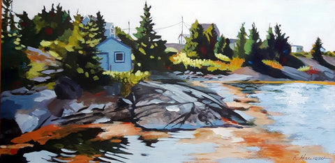 acrylic painting by rhonda marineau of a coniferous tree-lined coastal  nova scotia village against a white sky