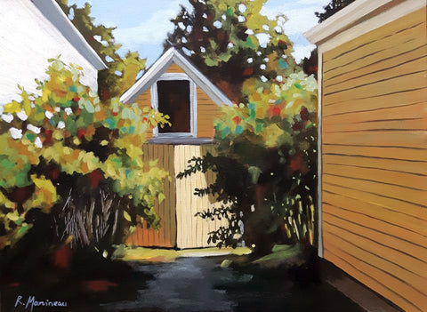 path between two buildings leading to a yellow wooden gate in Chester Nova Scotia by artist Rhonda Marineau