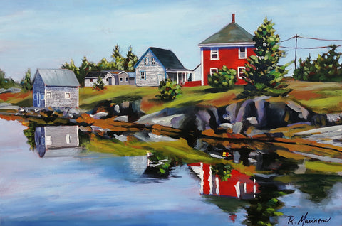 acrylic painting of the coastal village of stonehurst nova scotia, a red and white house reflect in the water below a rocky green coastline, by rhonda marineau
