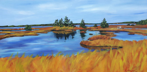 acrylic painting by nova-scotia artist Rhonda Marineau of the salt marshes behind Lawrencetown beach outside Halifax Nova Scotia. Bright blue pools of water against a maze of tall orange grasses