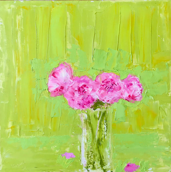 Peonies Against Chartreuse