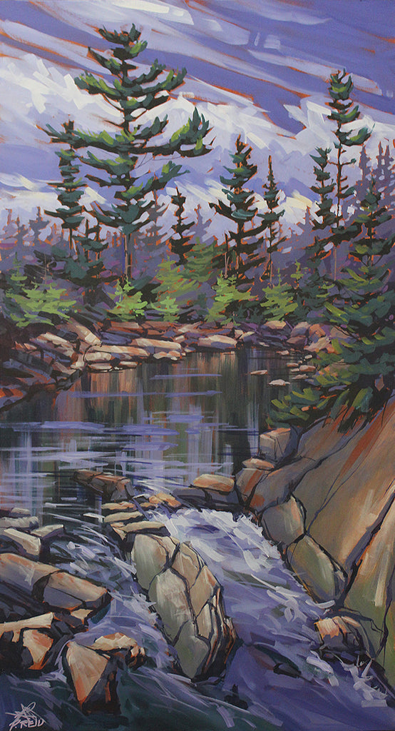 Cape-Breton landscape painting of a still pool and small waterfall with sparse fir trees, by Peter John Reid