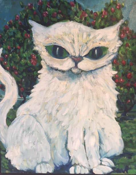 White Cat with Salt Mist Roses