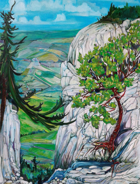 painting of a view between two cliffs, looking off at the horizon, trees perched cliffside