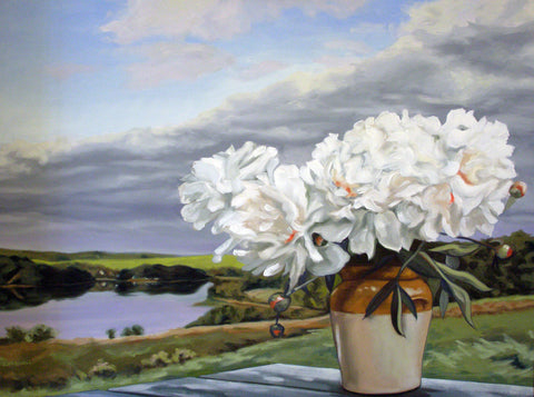 Peonies with Landscape