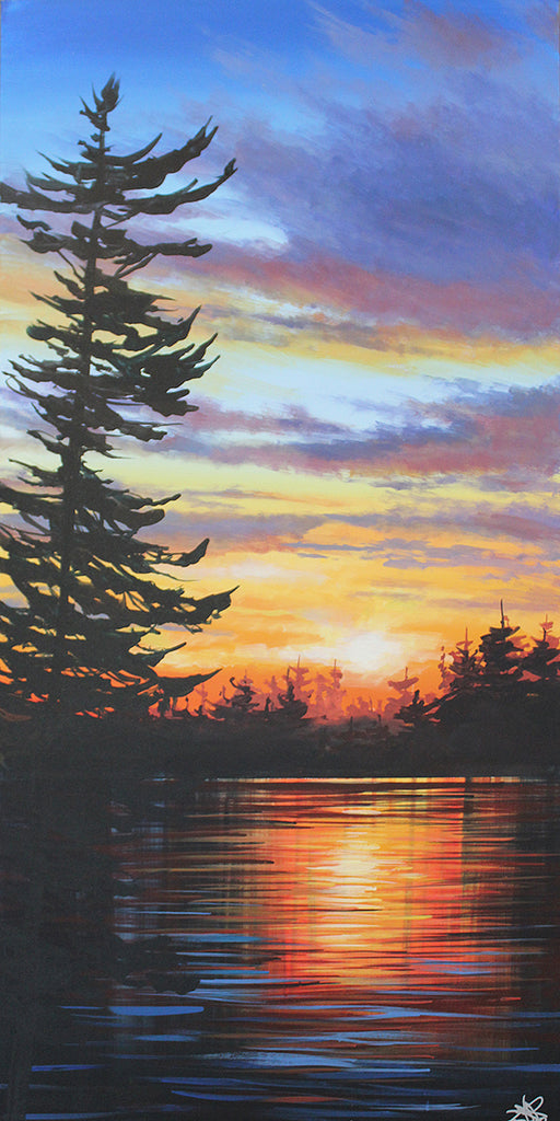 Acrylic painting of a single pine silhouetted against a sunset sky and  reflective lake by artist Peter John Reid
