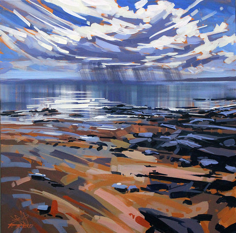 Impressionistic, painterly acrylic painting of a beach at low tide with a storm cloud on the horizon. By Peter John Reid